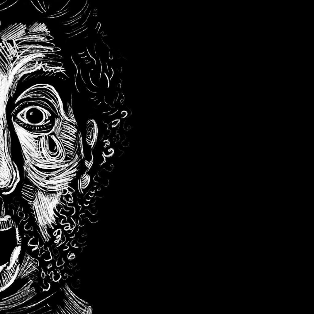 Rich Corrigan black and white illustration